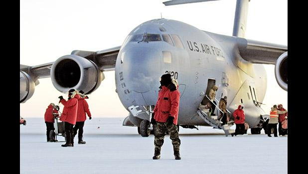 A U.S. Air Force plane on the ground in Antarctica