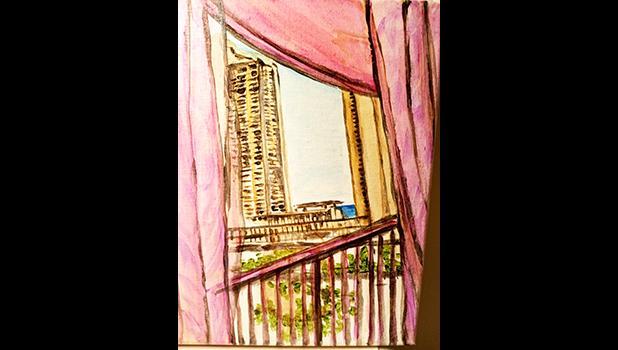 Scene outside her hotel room window