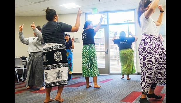 Members of the Pacific Islander Student Association practice for the luau that has now been cancelled