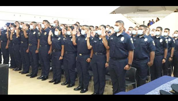 The 72-cadets of 28th Police Academy taking the Oath of Office