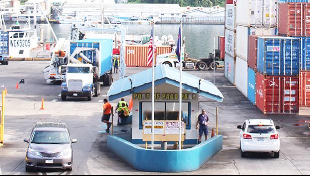Container traffic at Port of Pago Pago