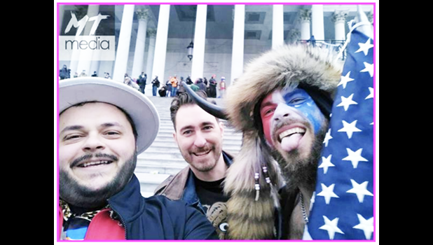 3 QAnon members inside the U.S. Capitol on Jan. 6.