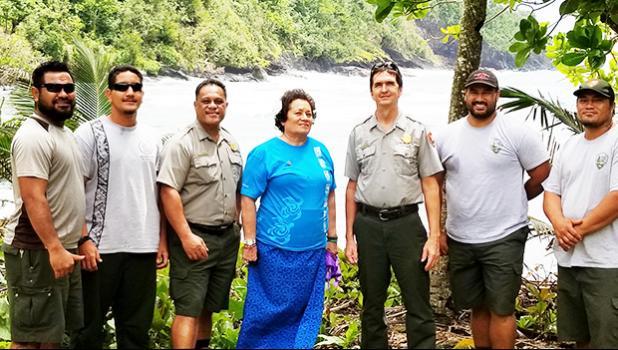 Rep. Amata with Sup. Scott Burch, Ranger Pua Tuaua, Jr. and hardworking maintenance crew