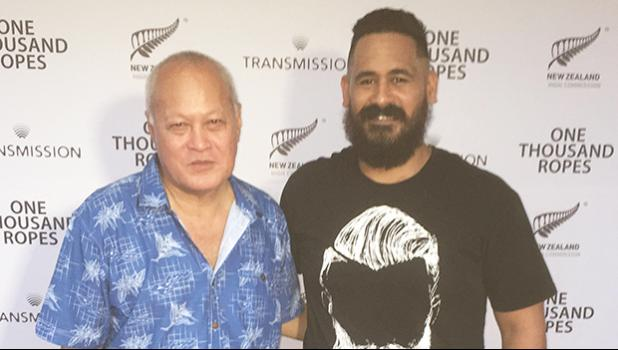 Uelese Petaia, who played the main character Maea, poses with Danny — aka barber684 of Pago Pago at the premiere of the new Samoan film, One Thousand Ropes, in Apia, Samoa.  [photo: Ese Malala]