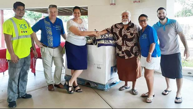 (L-R) ICS's Rodel Tarray, Rotrary's Rob Hardman, Beatrice Block of Hope House, Rotary Club President Peter Tinitali and local Rotarians Moe Hardman and AJ Ricci.