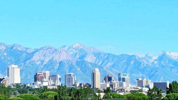 Salt Lake City, Utah skyline with mountains in the background