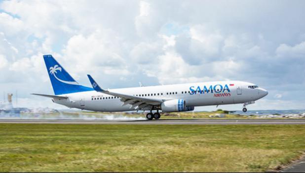 Samoa Airways jet on runway