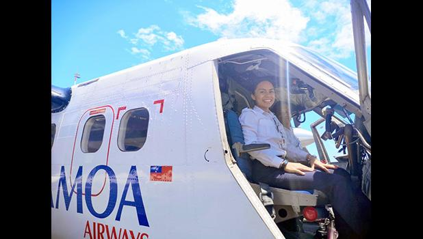 Fanaafi Sooaemalelagi, looking at the camera from inside the cockpit of the airline's aircraft