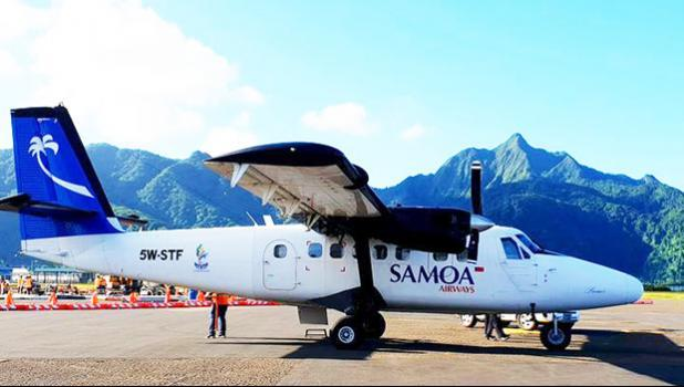 Samoa Airways Twin Otter at American Samoa's Tafuna International Airport.