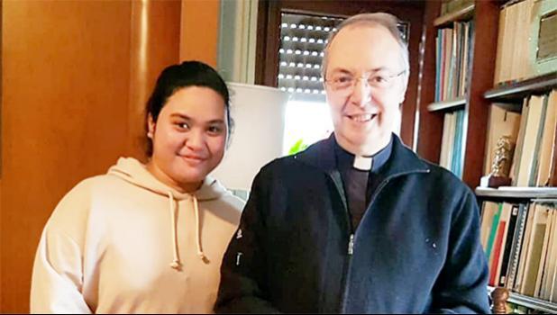 Tessarina Vee and Monsignor Marco Frisina