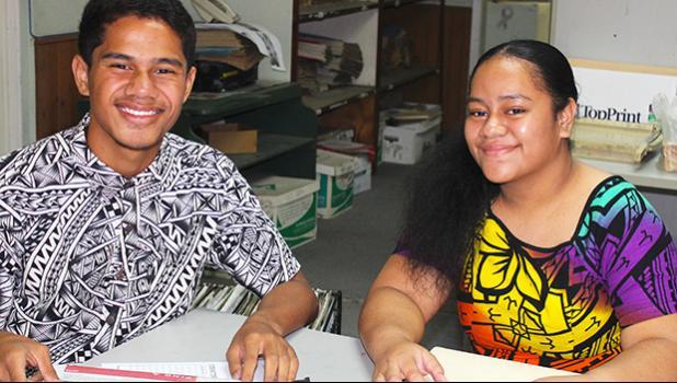 Iven Holi (left) of Matu'u/Faganeanea and Saafi Tamaalemalo of Pago Pago are Samoa News interns in the Summer Youth Employment Program.
