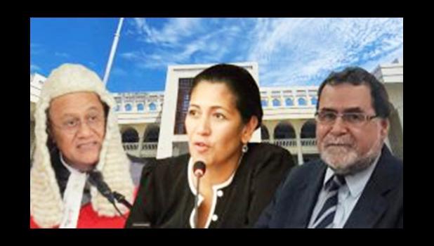 CJ Satiu Simativa Perese, Justice Tafaoimalo Leilani Tuala-Warren and Justice Vui Clarence Nelson.