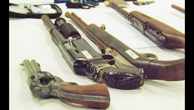 Weapons displayed by police for the media