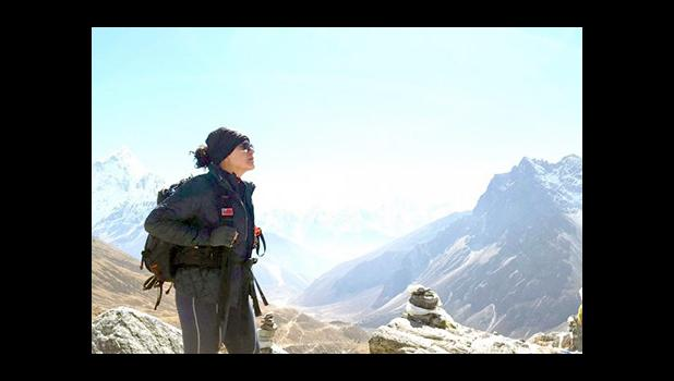 ON TOP OF THE WORLD: Rosita Afele on top of the 5,364 meters Mt. Everest Base Camp. (Photo: Rosita Afele)