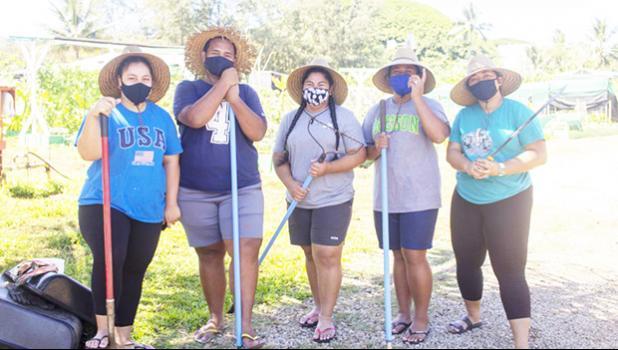 Left to right: Samoan student workers Marleiziah Peseta, Bitner Lameta, Bethlyn Laurenson, Angel Fafai and Ana Esa