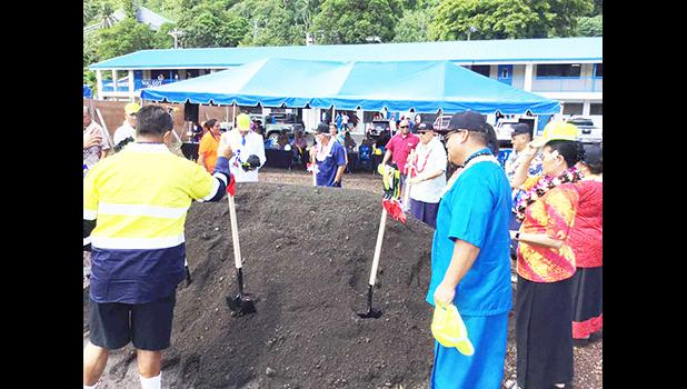 Gov. Lolo Matalasi Moliga, along with other ASG officials turning a shovel full of dirt.