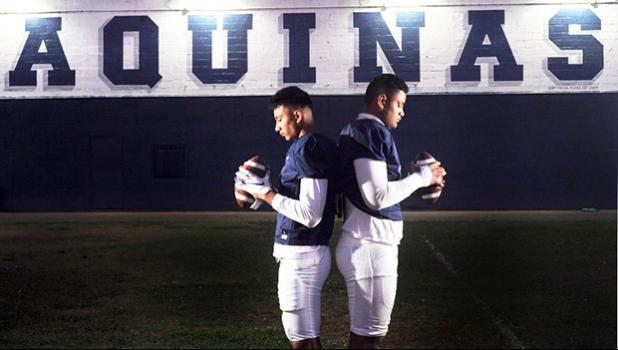 Aquinas High School football players Francisco Mauigoa, 16, (L), and Francis Mauigoa, 14, (R)