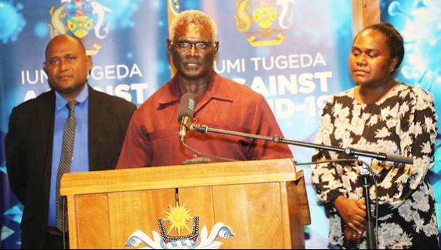 Solomon Islands PM, Manasseh Sogavarewith aids