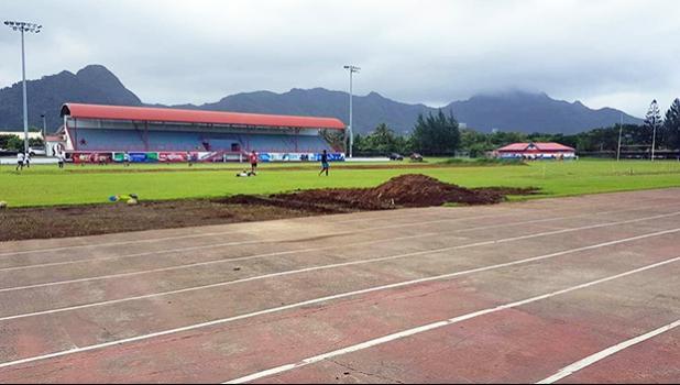 Photo of field conditions at Veterans Memorial Stadium