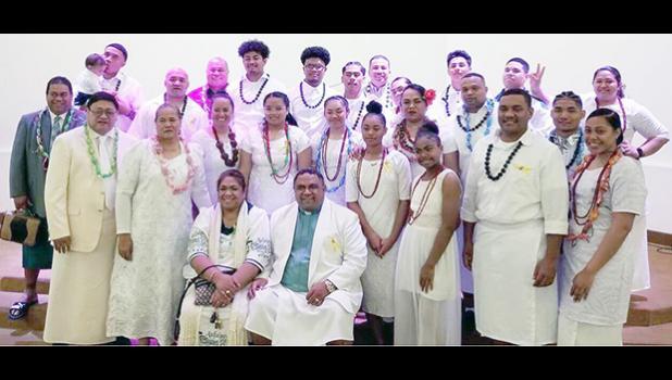 "Group photo after the ""Toa O Samoa"" church service"