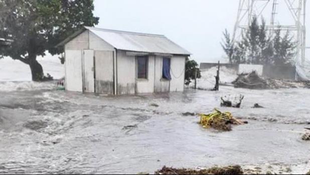 Flooding in Ha'apai group in Tonga from Cyclone Tino