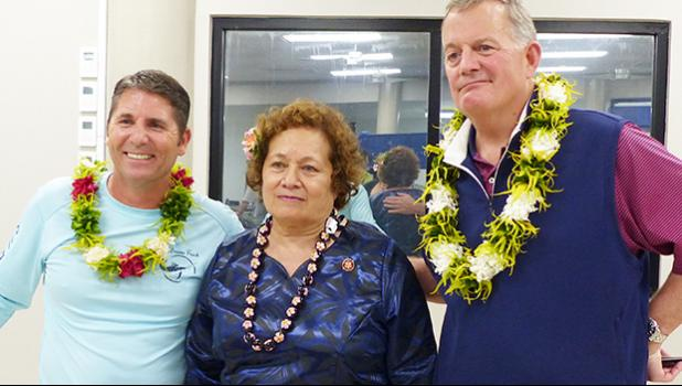 Congresswoman Aumua Amata (center) with the Director of the US Mint, David J. Ryder (right); and a US Mint staffer (left).