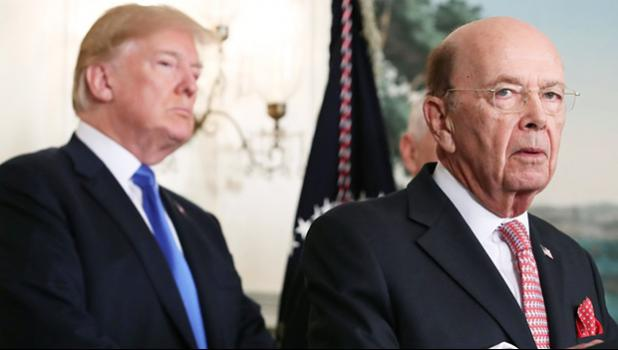 Commerce Secretary Wilbur Ross with President Donald Trump. Ross directed the Census Bureau, an agency within the Department of Commerce, to add a citizenship question to the 2020 census. [Mark Wilson/Getty Images via Slate]