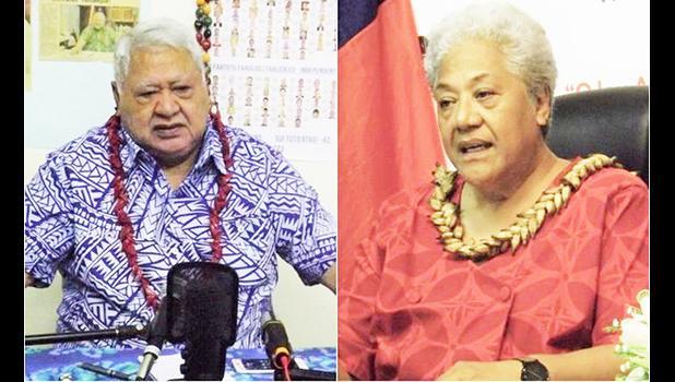 Samoa's caretaker Prime Minister Tuilaepa Salele Malielegaoi (left) and FAST leader Fiame Naomi Mata'afa