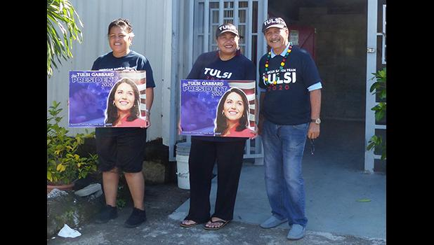 Three of the American Samoa supporters of Tulsi Gabbard.