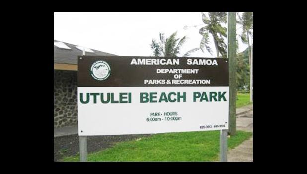 Utulei Beach Park sign