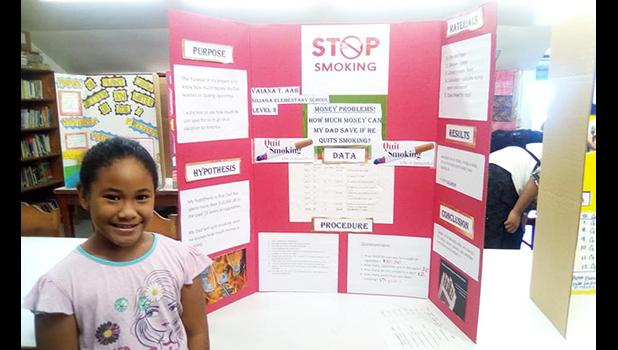 Vaiana Taufuiono Ma'o-Aab with her winning science project