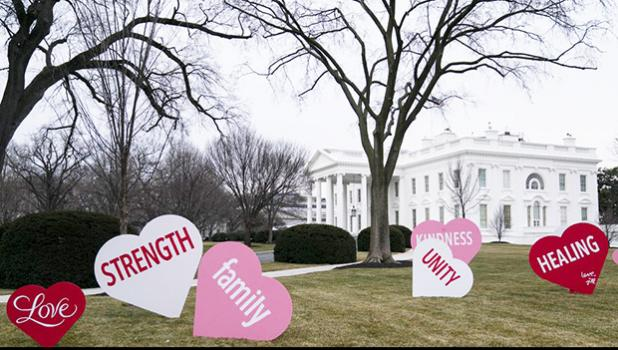 Valentines on the White House lawn