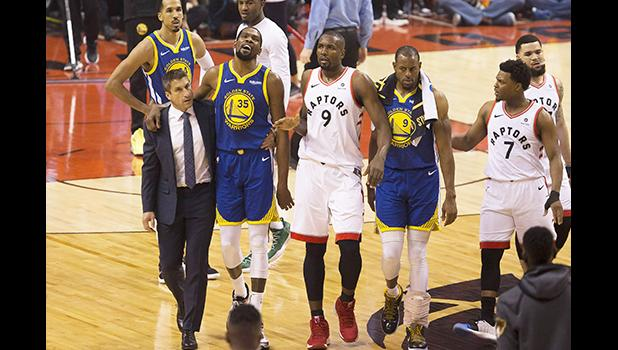 Golden State Warriors forward Kevin Durant (35) walks off the court