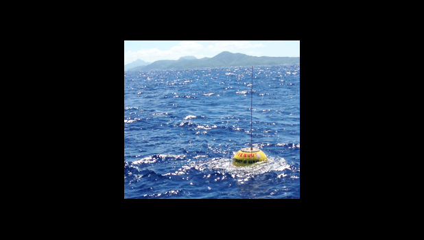 The Pacific Islands Ocean Observing System wave buoy off Aunu'u that was recently tampered with. It's the only wave buoy in the Samoan waters.  [photo: Kimball Milikan/via Samoa News]
