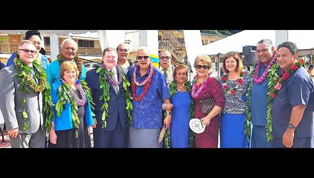 American Samoa's newest option for higher education was officially celebrated yesterday during a brief ceremony to welcome Wayland Baptist University to American Samoa. Pictured with a group of local dignitaries are (front row l-r) Dr. Dan Jacobson, executive director and campus dean of Wayland's Hawai'i campus; Dr. Elane Seebo, vice president of external campuses; and Dr. Bobby L. Hall, president of Wayland Baptist University.   [photo: Blue Chen-Fruean]