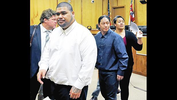 Wesley Samoa, left, Lama Lauvao and Natisha Tautalatasi leaving the courtroom