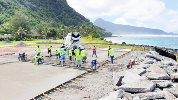 New pavement on the Ofu airport runway