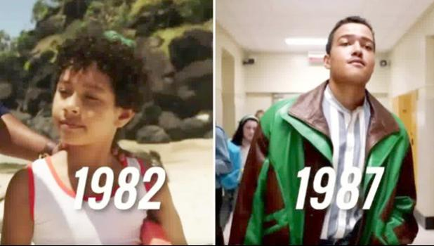 Two photos of Dwayne Johnson as a youngster