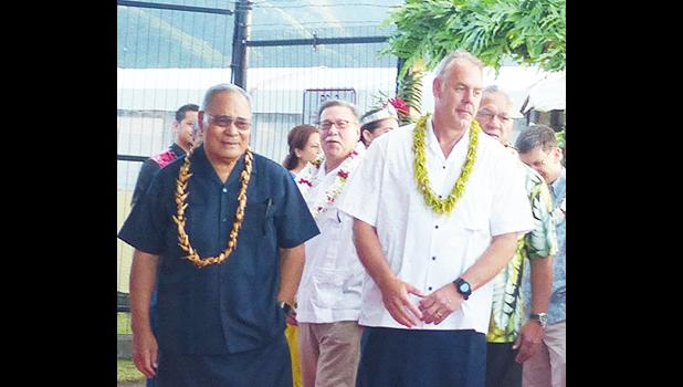 Assistant Interior Secretary for the Insular Areas Douglas Domenech in the background between Gov. Lolo Matalasi Moliga and former Interior Secretary Ryan Zinke