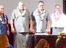 [l-r]: candidate for lieutenant governor Tapaau Dr. Dan Mageo Aga, and candidate for governor, I'aulualo Fa'afetai Talia; candidate for governor Lt. Gov. Lemanu Palepoi Sialega Mauga and candidate for lieutenant governor Talauega Eleasalo Va'alele Ale; and candidate for lieutenant governor Tapumanaia Galu Satele Jr. with candidate for governor Sen. Nuanuaolefeagaiga Saoluaga T. Nua.