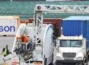 Container at port beside the scanner