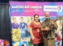 American Samoa Visitors Bureau (ASVB) staffer, Eletino Tuiasosopo-Gurr, and local entertainer, Tui Letuli at the American Samoa booth during the first day of the two-day San Diego Travel and Adventure Trade Show at the San Diego Convention Center, in San Diego, CA Jan. 18-19, 2020.