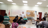 John Armor, Director of NOAA's Office of National Marine Sanctuaries, is seen here giving a talk to ASCC Marine Science students about perseverence and finding a career that is both rewarding and protective of American Samoa's unique island resources.  [Photo: K. Anderson-Tagarino]