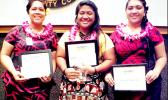 The three finalists in Lau Gagana! Tuvaaga Tusiga Tala Faasamoa, a writing competition in the Samoan language organized by the ASCC Samoan Studies Institute are (left to right) second place winner Andrea Faalei'ua, first place winner Dorothy Mana'o, and third place winner Oneata Melody R. Soi.  [Photo: J. Kneubuhl]