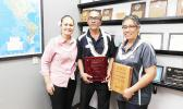 CEO of Neil's ACE Home Center, Ngaire Ho Ching with two recipients recognized yesterday morning, in a special ceremony, for their long years of service — Teni Ma'ae worked for 25 years and Nadine Solofa-Taufa'asau for 15 years. [Photo: EM]