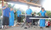 National University of Samoa's first instructor with a disability Faoolo Utumapu on the far right playing the piano with the NOLA band — all of whom are blind, last month at one of the events held in Samoa.  [Courtesy Photo: NOLA]