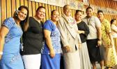 Director-nominee for the Department of Human and Social Services, Taeaoafua Dr Meki Solomona with DHSS employees following his confirmation hearing before the House of Representatives yesterday morning. The House in a vote of 13- 5 passed the nomination and he now awaits Senate confirmation.  [Photo: JL]
