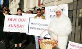 First Union members - and a giant Easter bunny - picket Auckland councilors before their meeting on Easter Sunday trading.  [Photo: RNZ / Anusha Bradley]