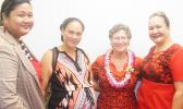 Newly confirmed TAOA director, Evelyn Lili'o-Satele (second from right) with several of her staff at the Fono building following her Senate confirmation hearing yesterday morning. She was fully confirmed after the Senate vote of 17-1.  [photo: FS]
