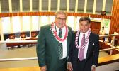 Director nominees for the Department of Agriculture, Filifa'atali Mike Fuiava and Department of Homeland Security, Samana Semo  Ve'ave'a who attended their House confirmation hearings yesterday morning.  [Photo: JL]